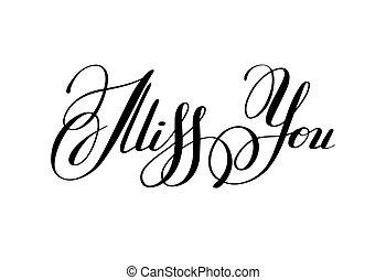 preto branco, senhorita, tu, inscrição, mão, lettering, caligrafia