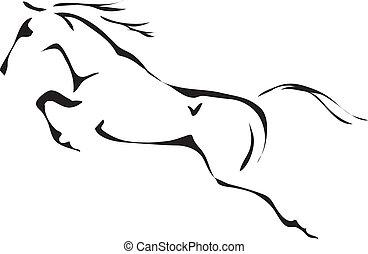 preto branco, vetorial, esboços, de, pular, cavalo