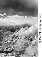 preto branco, vista, ligado, refúgio esqui, em, névoa