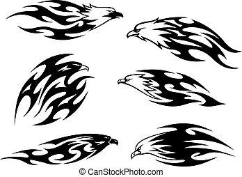 preto branco, voando, águias, tatuagens
