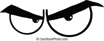 preto branco, zangado, caricatura, olhos