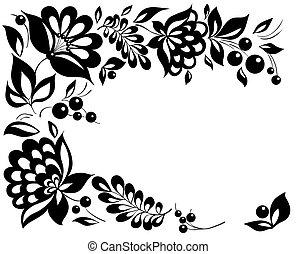 preto-e-branco, flores, e, leaves., projeto floral,...