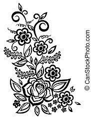 preto-e-branco, flores, folhas