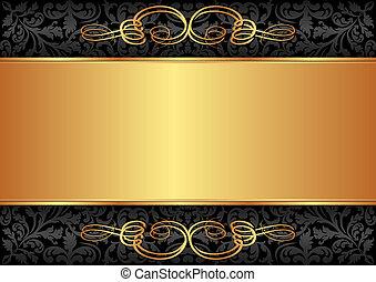 preto, ouro, fundo