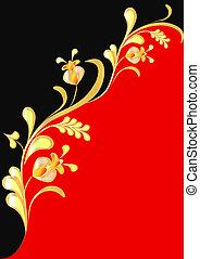 preto vermelho, fundo, floral