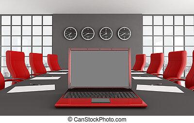 preto vermelho, sala, reunião