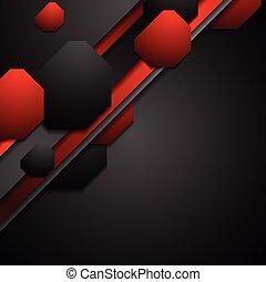preto vermelho, tech, fundo, com, formas geométricas