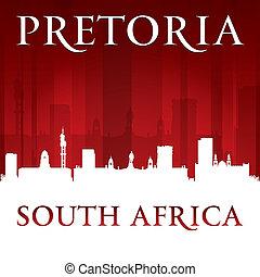 pretoria, afrique sud, fond, horizon, ville, rouges, silhouette