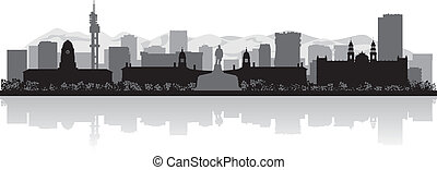 Pretoria city skyline vector silhouette
