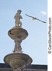 Pretoria Fountain with wather drops in Palermo