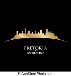 Pretoria South Africa city skyline silhouette black background
