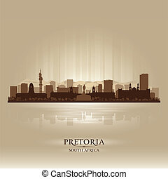 Pretoria South Africa city skyline silhouette