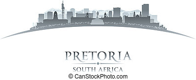Pretoria South Africa city skyline silhouette white...
