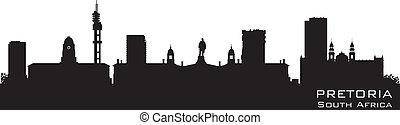 Pretoria South Africa skyline Detailed vector silhouette -...