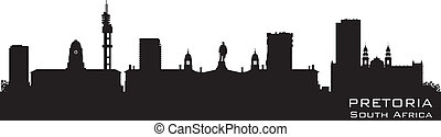 Pretoria South Africa skyline Detailed vector silhouette -...