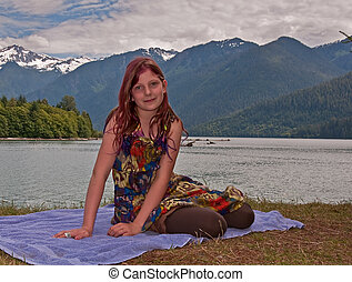 Pretty 10 Year Old Girl Portrait at Mountain Lake