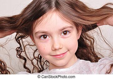 pretty 8 year old girl in white dress - portrait of a pretty...