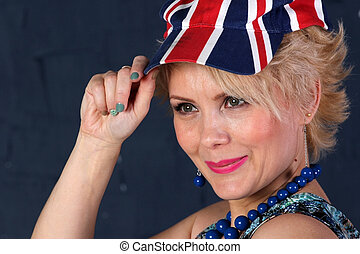 Adult woman in union jack hat