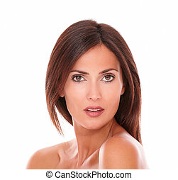 Pretty adult woman looking at camera