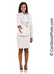african american businesswoman offering handshake