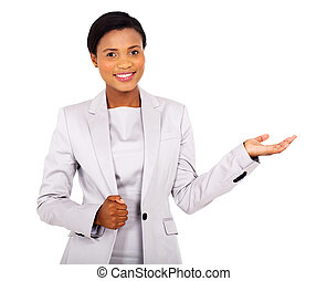 african american businesswoman presenting