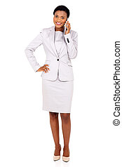 african american businesswoman talking on mobile phone