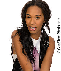 Pretty African American girl isolated