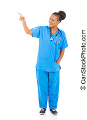 african american healthcare worker pointing