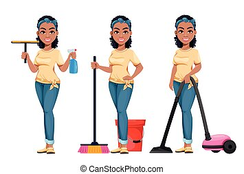 Pretty African American housewife cleaning
