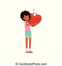 Pretty african american teen girl holding red heart, Happy Valentines Day concept, love and relationships vector Illustration