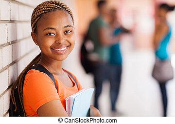 pretty african american university student closeup