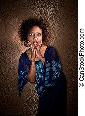 Pretty African American Woman in Blue Dress