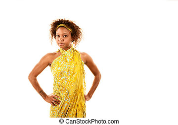 Pretty African-American Woman In Wrap Dress