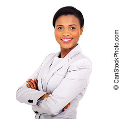 african business woman with arms crossed