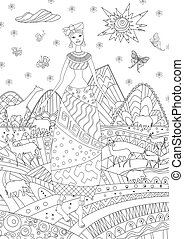 Pretty african girl in mountain landscape for your coloring book