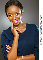 african girl on black background