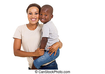 african woman carrying her son