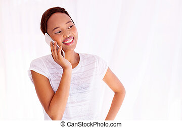 afro american woman talking on mobile phone