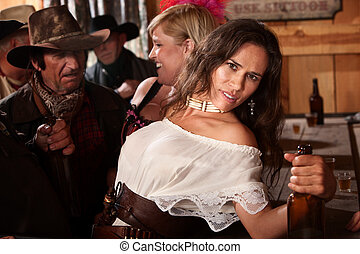 Pretty American Indian Woman in Bar