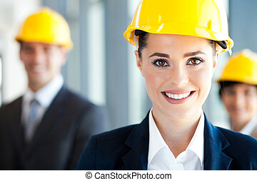 construction businesswoman closeup