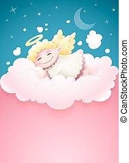 Pretty angel baby sleeping at cloud