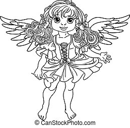 Pretty angel girl with wings black