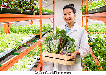 Pretty Asian female agronomist with packed fresh organic food moving along aisle