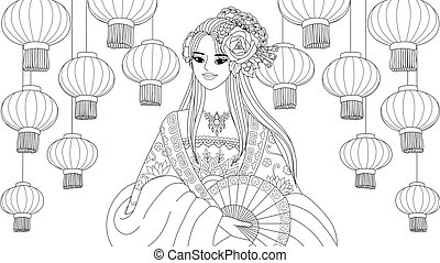 Chinese - Pretty asian girl wearing Chinese traditional ...