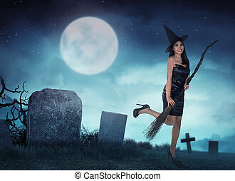 Pretty asian witch woman want to fly with magic broom