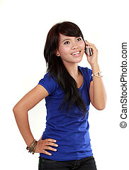 Pretty Asian Woman on the phone
