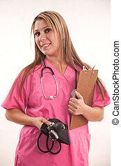 Pretty attractive blond twenties american hispanic healthcare professional
