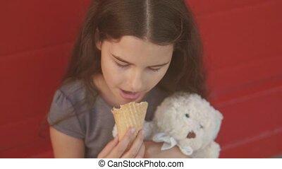 Pretty baby girl kid eating slow motion video nursing bottle...
