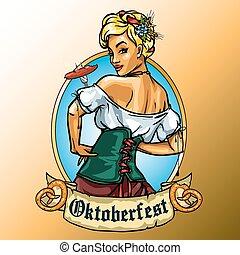Pretty Bavarian girl eating sausage, Oktoberfest label with...