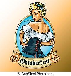 Pretty Bavarian girl label - Pretty Bavarian girl with beer,...